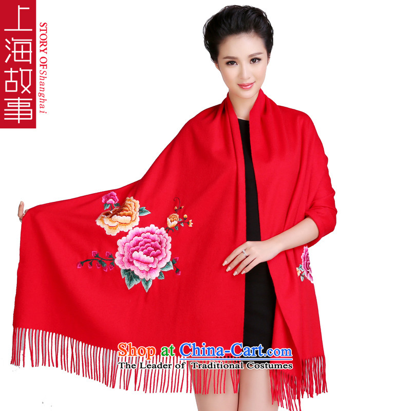 Shanghai Story luxury double-sided suzhou embroidery thick pure Cashmere scarf wedding shawl, upscale suzhou embroidery large red