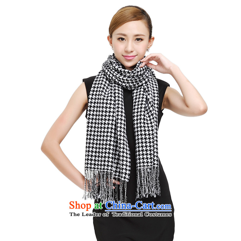Shanghai Story 2014 New Pure Wool scarves couples, Chidori. Double-dyed woolen shawl scarf autumn extended warm thick scarf 177031 Black and White