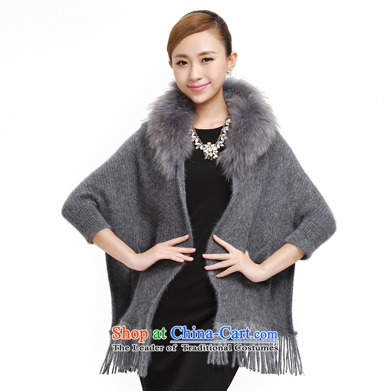 Shanghai Story new fur large shawl autumn and winter rabbit hair warm shawl large campaign for European and American shawl sub gross scarf female 177036 Gray