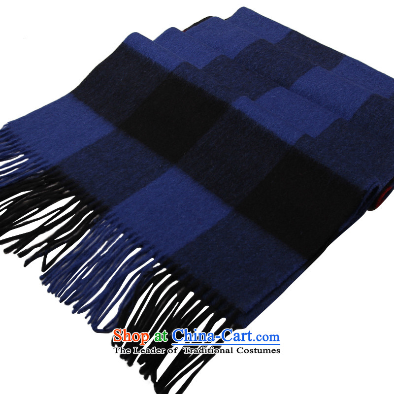 Shanghai Story autumn and winter England quality lamb latticed thick warm blue-black checkered scarf