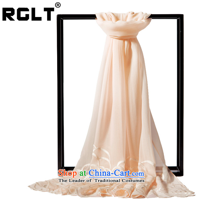 Rglt Rui,聽2015 New Pure Herbs extract the pure silk scarf silk embroidery gittoes manually yarn, embroidery pure color long silk scarf聽sj590 unrelated erotic - apricot