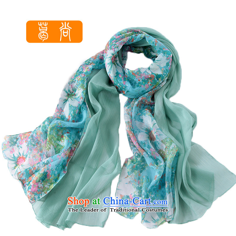 Ge Sang The2014 autumn and winter the new president of the scarf irrepressible stamp stitching silk scarfW4065green are code