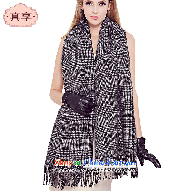 Enjoy a low profile really thick autumn and winter Women warm Pure Wool scarf black