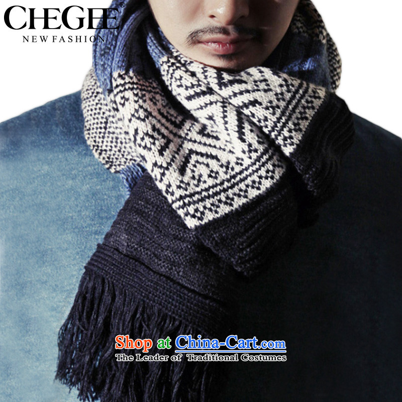 The Korean autumn and winter CHEGEE Christmas scarfs snowflake Sorok Twist Knitting scarves unisex edging a warm blue