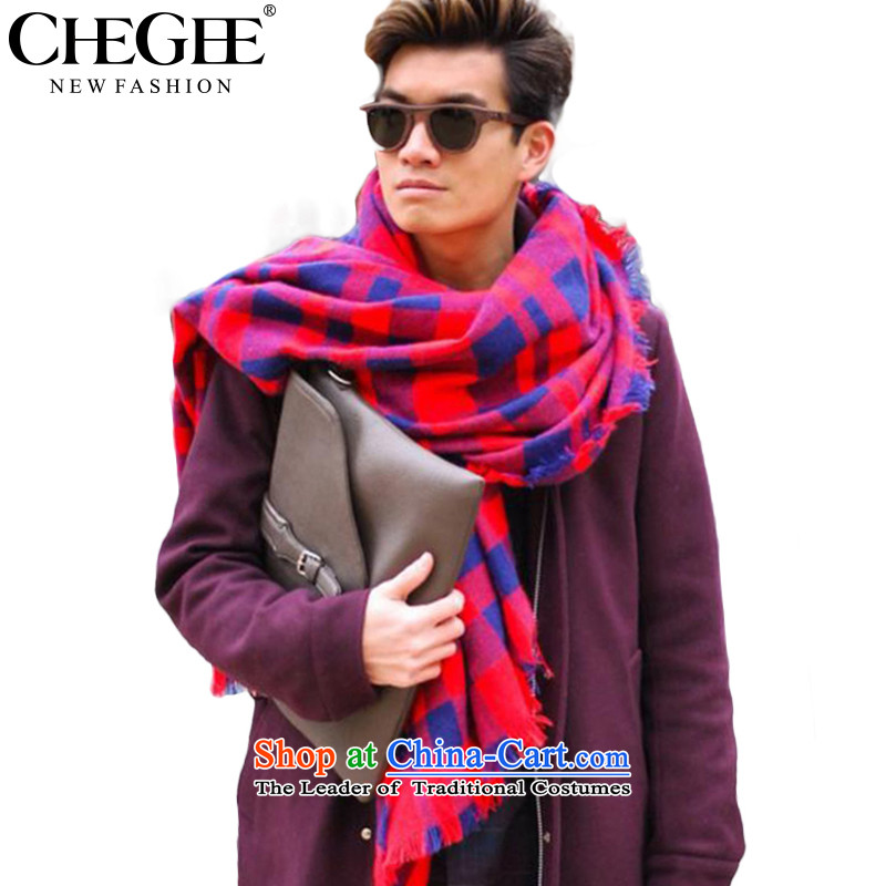 Western Wind England CHEGEE color emulation cashmere shawls latticed Ms. Preppy warm scarf unisex blue and red.