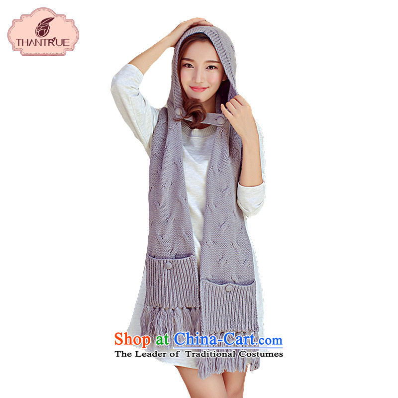 Enjoy winter Ms. thantrue really Korean fashion with pockets with cap woolen knitted large scarf Gray