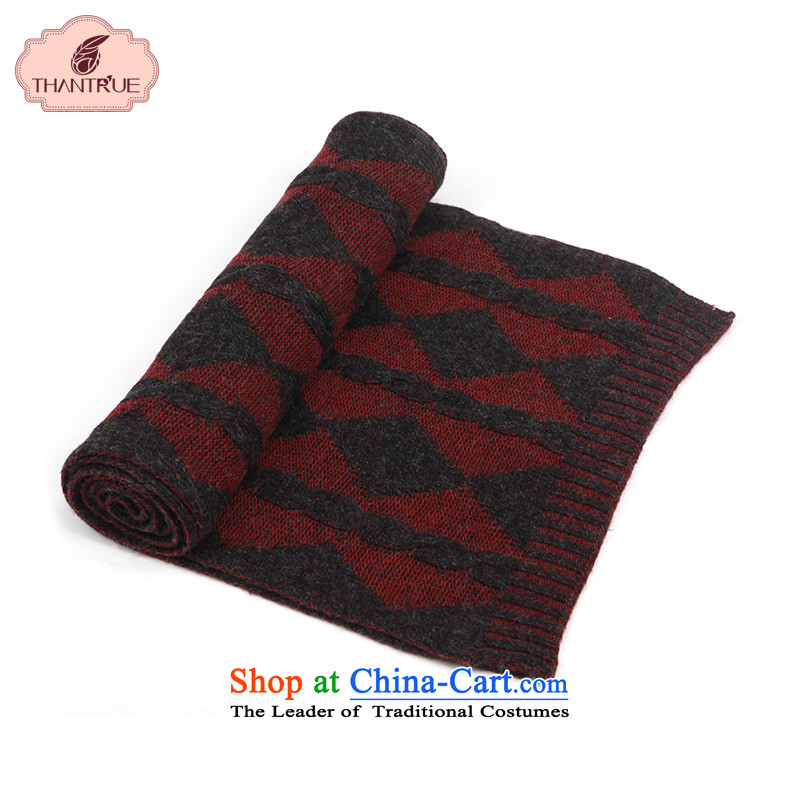 Ms. enjoy true thantrue Autumn and Winter Sweater Korean Ling Plaid couples, Knitting scarves bourdeaux