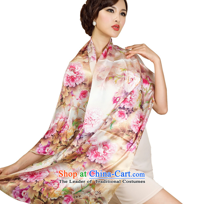The Butterfly Dance medley, silk scarves long shawl sauna silk scarves damask autumn and winter Scarf6# Gold Peony