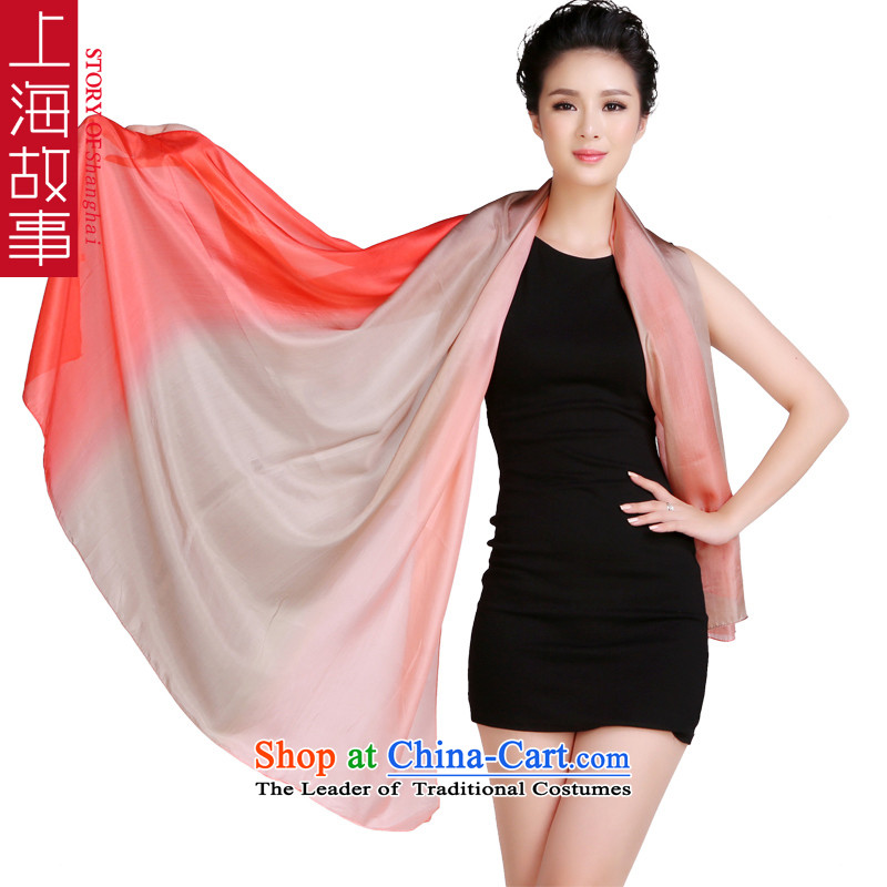 Shanghai Story silk scarves ocean woven gradient color spell sauna silk scarves, Fancy Scarf two large collision with the color red curry powder