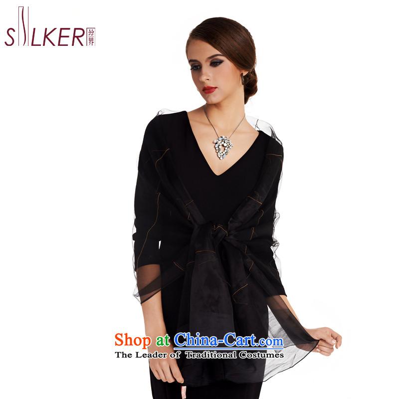 Sigi's new population 100% Ms. Santos silk scarves upscale embroidered silk scarfs long silk scarves Love of Pearl River Delta D black