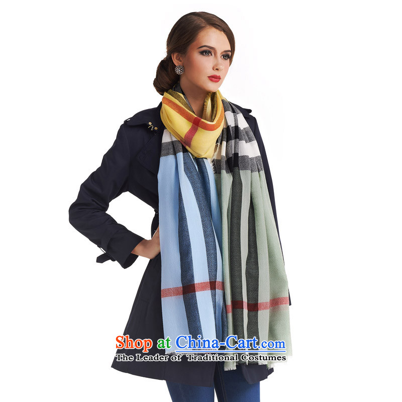 The population sector SIGI autumn and winter New Pure Wool Plaid scarf streaks knocked unisex scarves stylish colors couples Fancy Scarf classic time D yellow