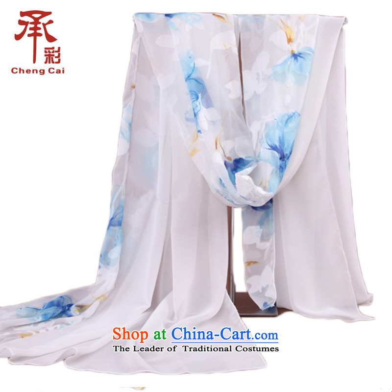 The Korean version of the new 2015 Ms. Double stitched scarf irrepressible Jacquard Scarf sj549 spinning process Snow Flower Chung Ching Fung - white blue