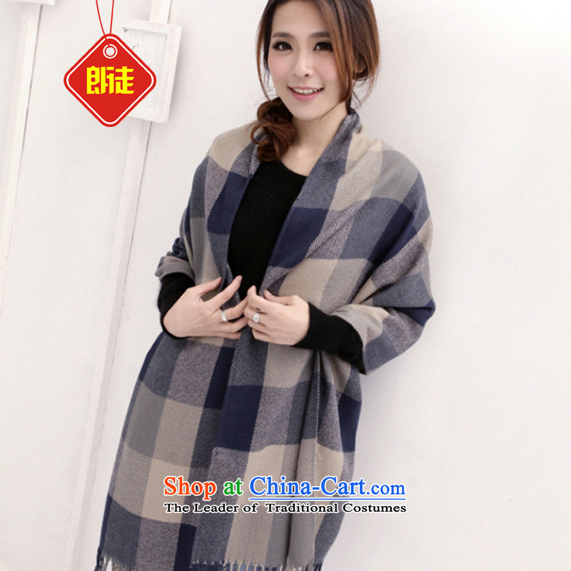 The Yuen Long and the聽2015 autumn and winter warm new grid extralong Ms. edging shawl stylish hit Korea emulation pashmina upscale C.O.D. Blue and Gray Tartan ULTRA-SOFT AND COMFORTABLE warm