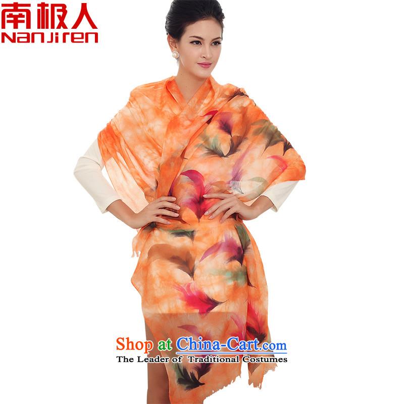 Antarctic Han version 300 stylish hand painted pashmina shawl warm scarf two light-yu orange