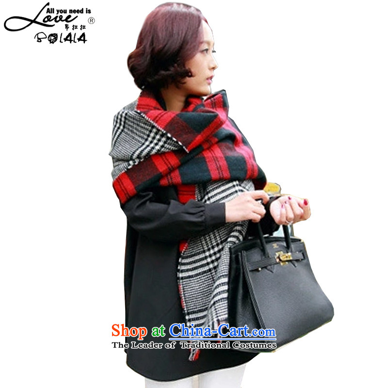 8(BOLALA) pulling the new president of the scarf winter stitching grid color with both positive and negative warm Fancy Scarf two with women autumn and winter to the Bun Bun, Red 188*94CM