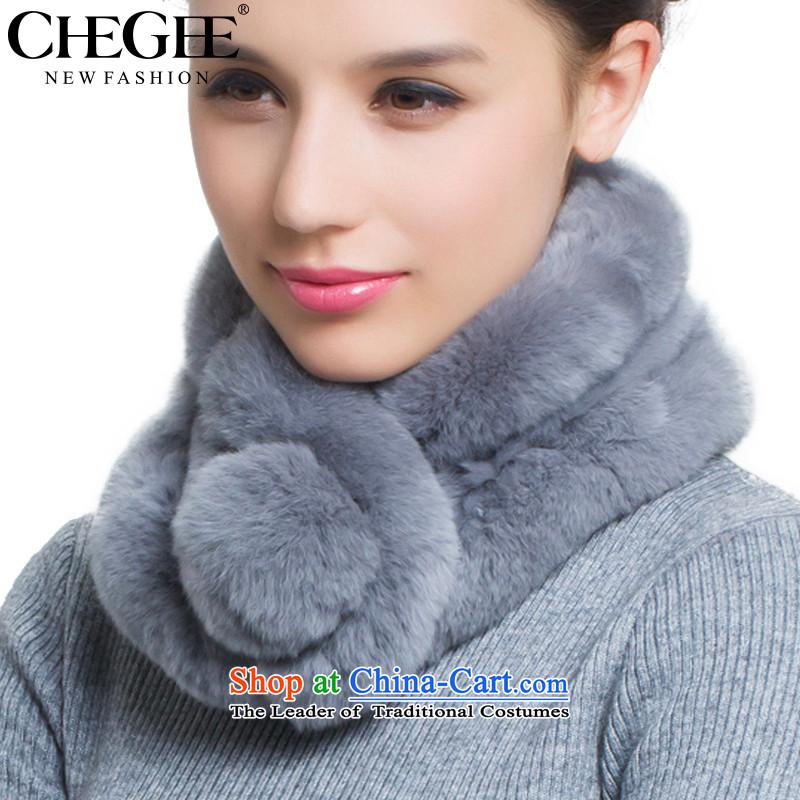 Chegee Fur and woolen cravat female a process and woolen cravat, Hand Smoke Gray Head Kit