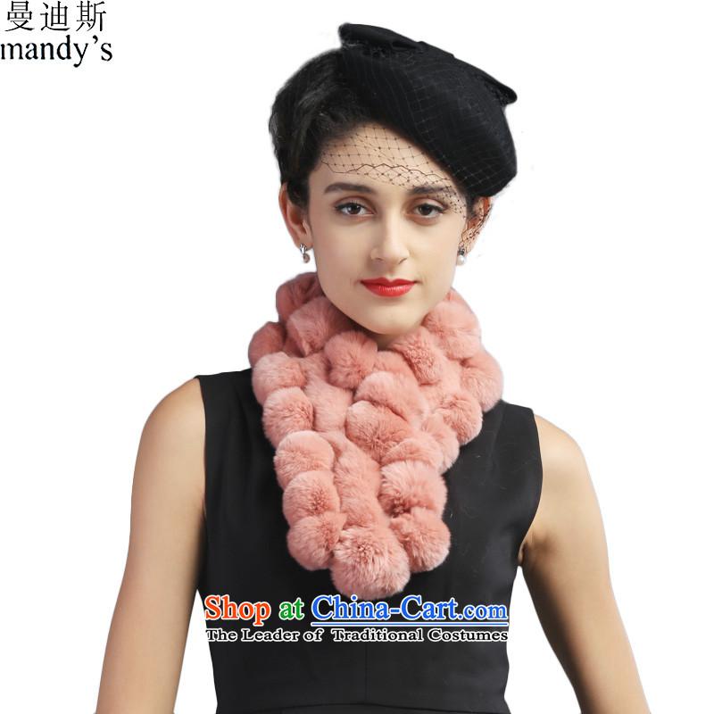 Mandys autumn warm winter, rabbit hair woven a women's stylish Ms. lovely fur muffler meat Powder