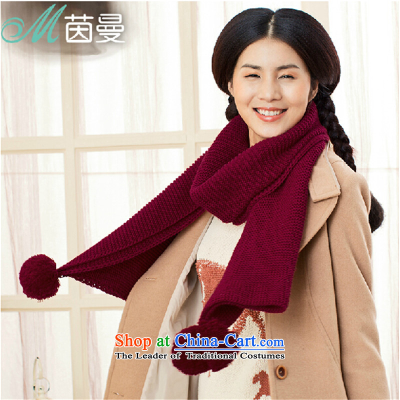 Athena Chu Cayman Knitting scarves, ultra-plush ball of autumn and winter scarves knitted warm thick a 844140015 (Health Wine red
