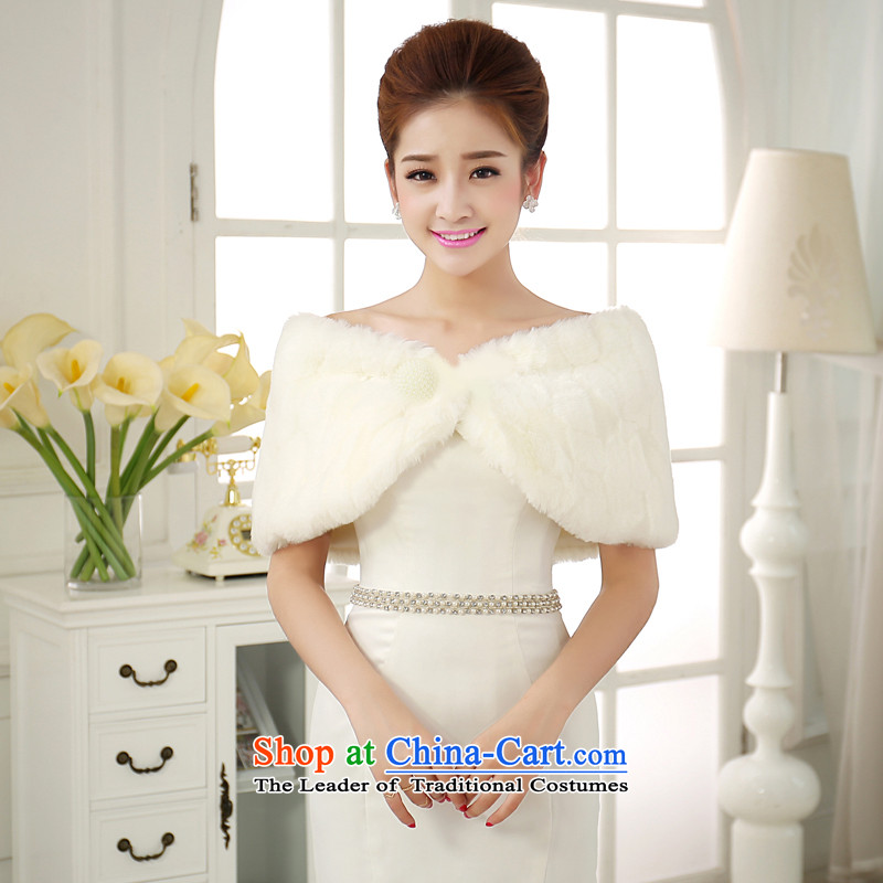 The privilege of serving-leung 2015 new upscale Korean winter good gross bride small wedding dress jacket rabbit hair thick shawl White