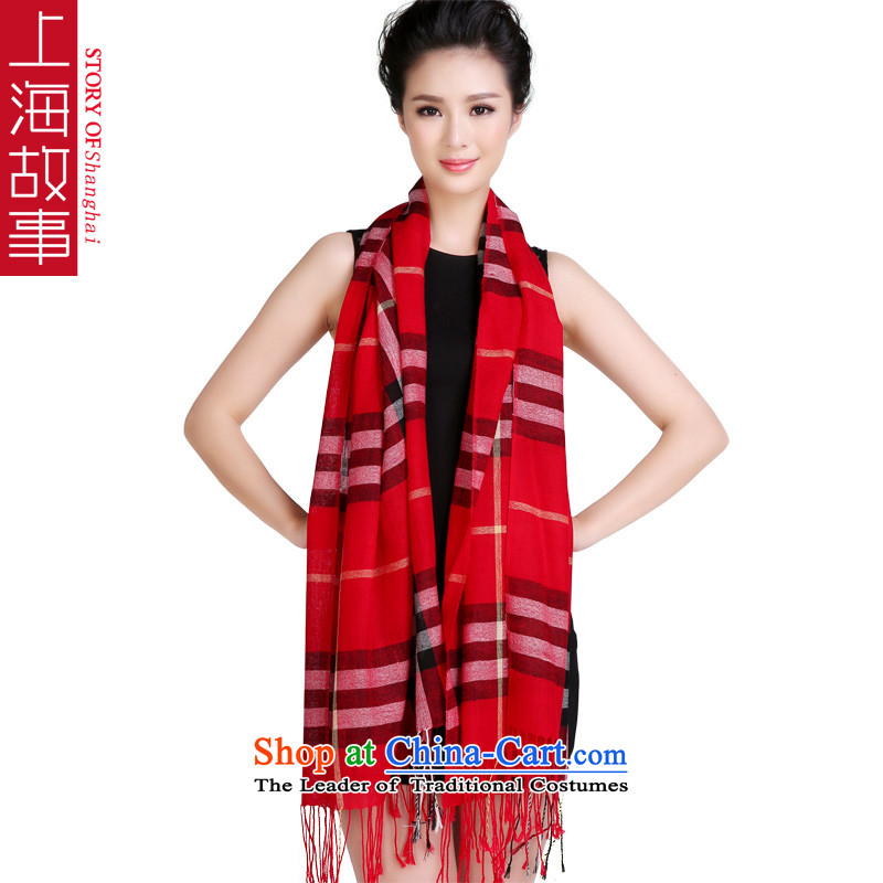 Shanghai Story of character-wool Fancy Scarf, autumn and winter warm new long shall be red large compartments