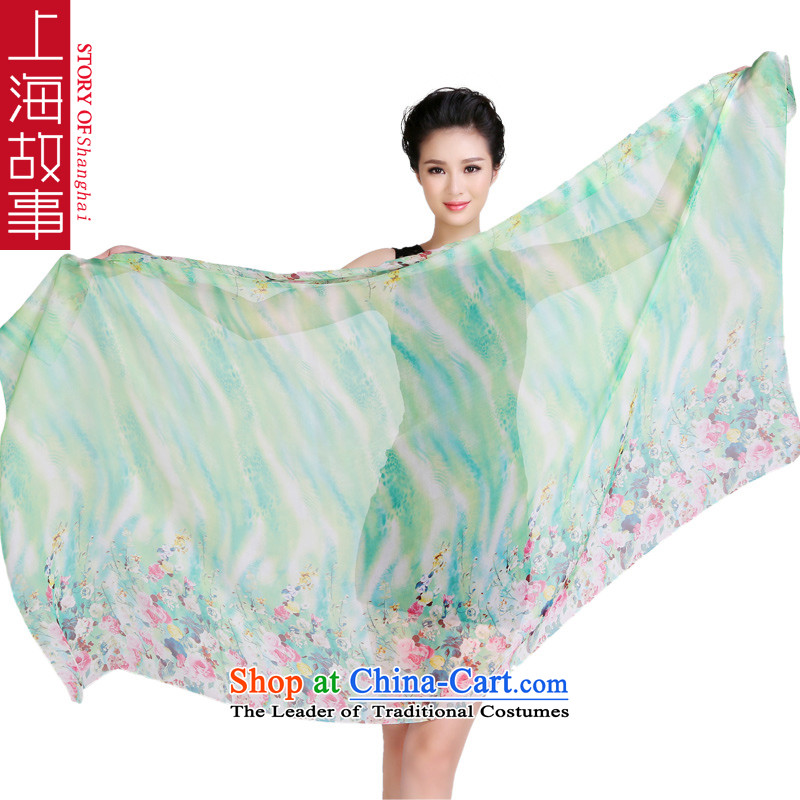 Shanghai Story herbs extract silk scarves with Fancy Scarf autumn and winter new chiffon silk oversized ultra long stunning fragrant green