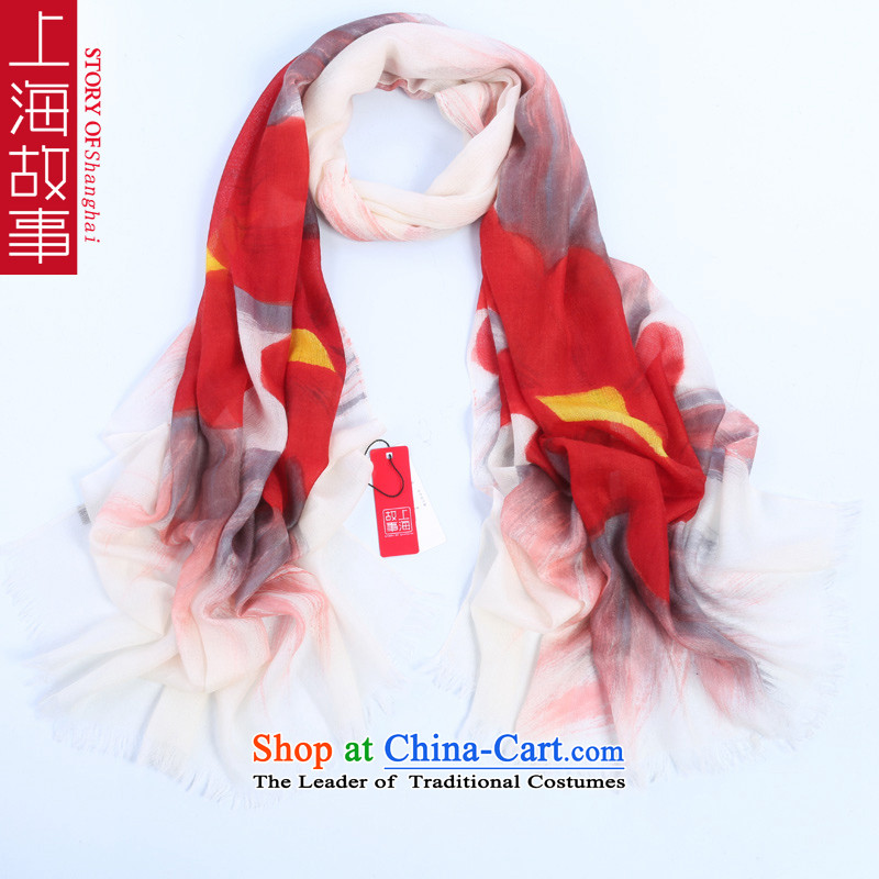 Shanghai Story2014 new autumn and winter, 300 support warm pashmina shawl rings polester velvet extension increase hand-painted safflower tongue
