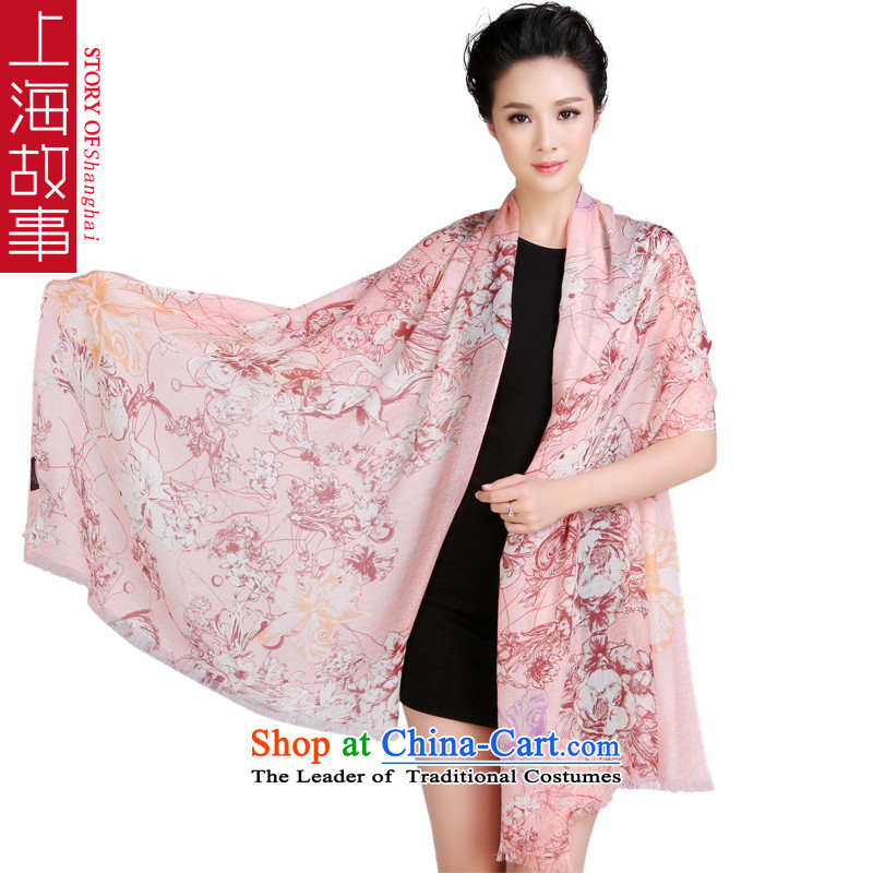 Shanghai Story autumn and winter new 100_ pure Cashmere scarf shawl rings polester velvet long oversized auspicious flowers Flamingo Pink