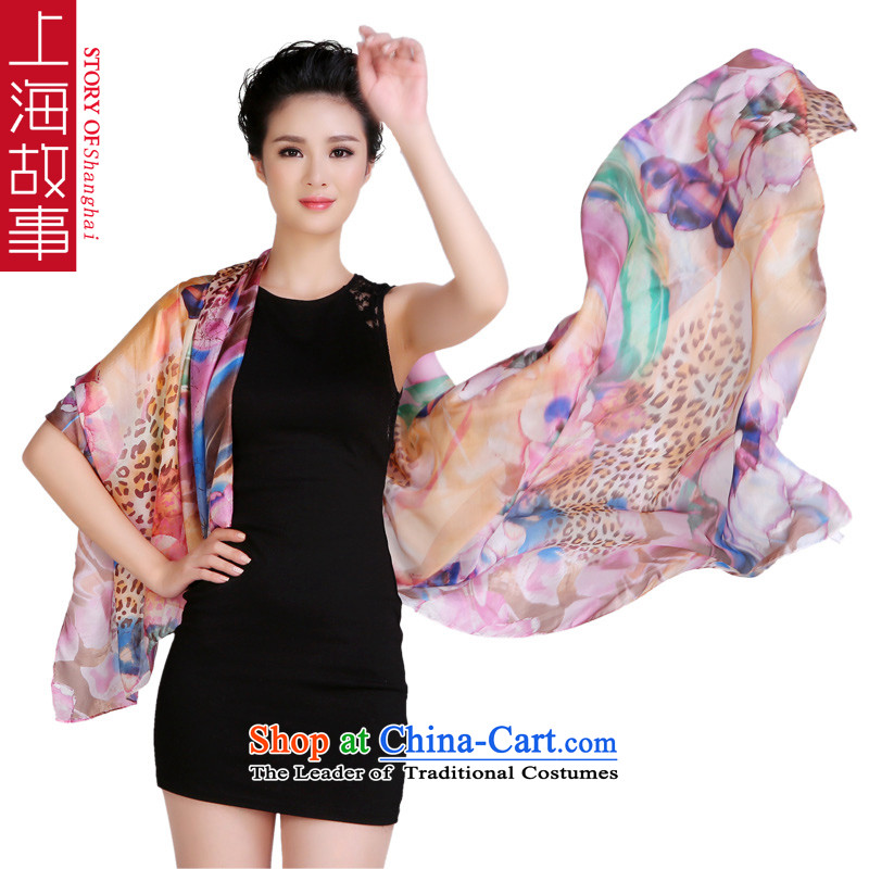 Shanghai Story 100 herbs extract silk scarves yang textile Fancy Scarf long large flowers in a mirror on water green