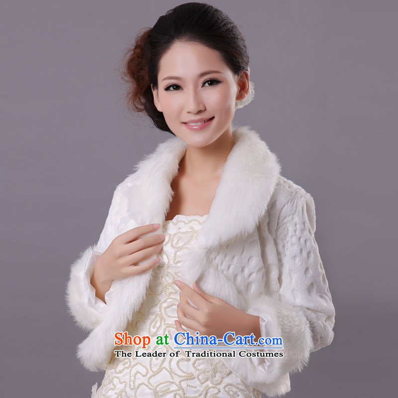 The privilege of serving-leung2015 autumn and winter white winter bride wedding dress bridesmaid wedding rough edges shawl White