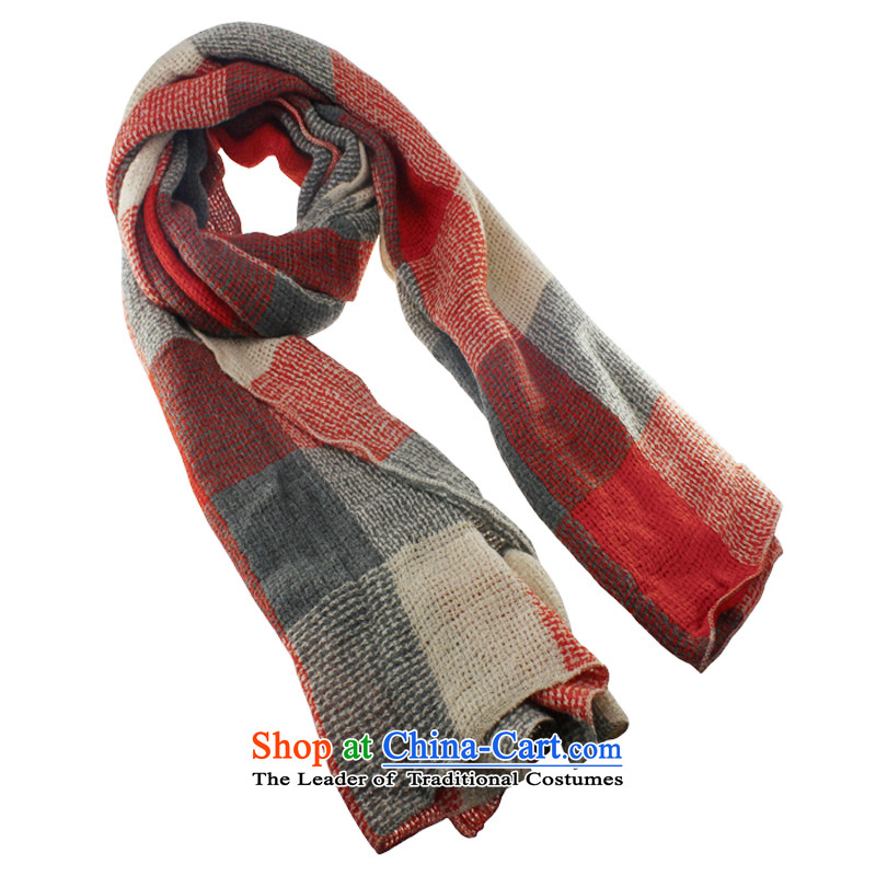 The elections for the new health where high Knitting scarves autumn and winter won a double-sided grid version, red-orange scarf180cm