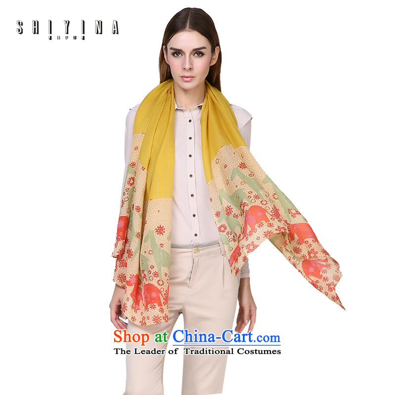 Ms Ina silk scarf female autumn and winter wool England wind long warm shawl wild herbs extract silk scarf yellow