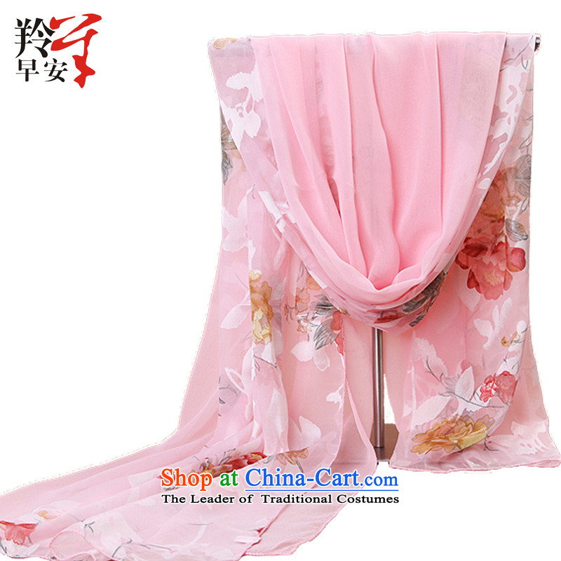 Good morning spring and autumn 2015 antelope chiffon Double stitched stamp snow filature silk scarf towel with a flower Chung Ching Fung two - Rouge Powder