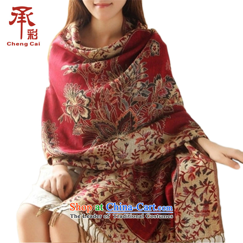 Large Scarf Ms.4313shawl autumn and winter ethnic jacquard a fall - Chinese red