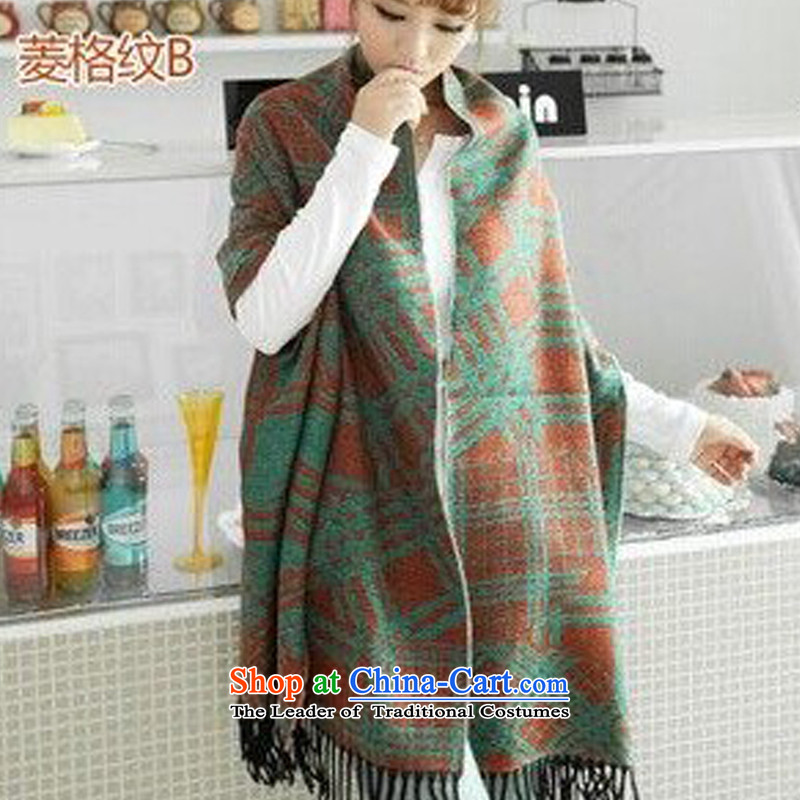 Scottish Plaid men and women's universal air-conditioning shawl warm scarf use two thick Korean female autumn and winter diamond plaid B