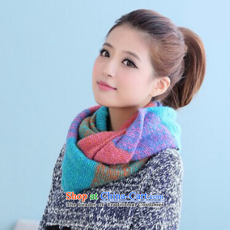 The autumn and winter, a warm winter female thick hedge Korean Knitting scarves color mixed double band Chokeholds Vitrail light