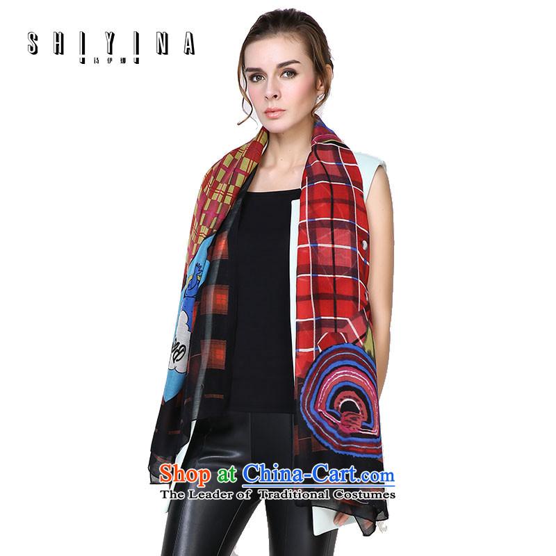 Ms Ina _shiyina_ silk scarf girl handing wool shawl Korean black and red