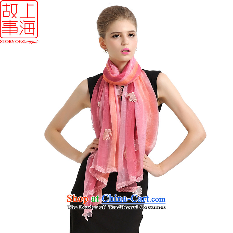Shanghai Story new seven-color butterfly extra large stylish Ms. scarves trend wild plus large sunscreen silk scarf beach towel 177057 Red