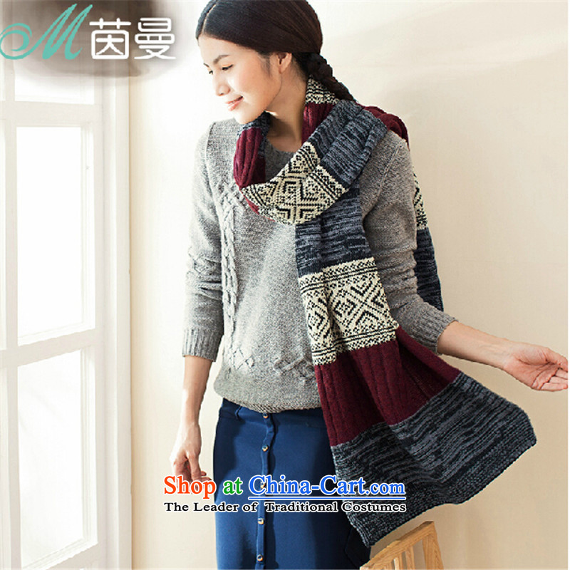 Athena Chu Cayman autumn and winter scarves knitted knitting arts geometry pattern warm-ups (844140029] mixed-color