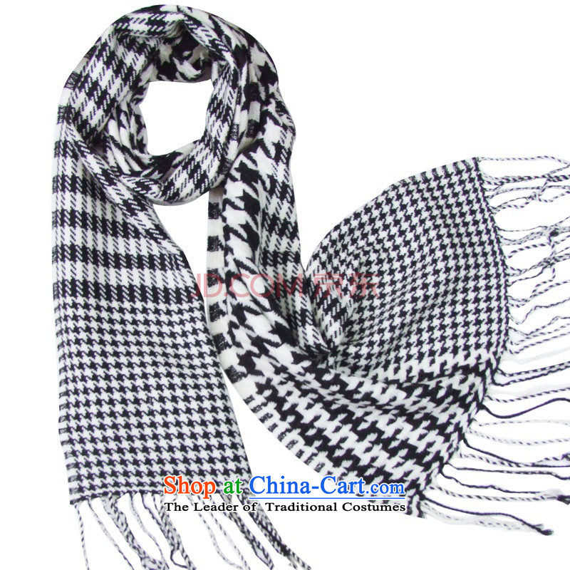 Hengyuan Cheung Australian wool chidori grid long Fancy Scarf gift box Dz-wo320 checkered exquisite gift box black and white