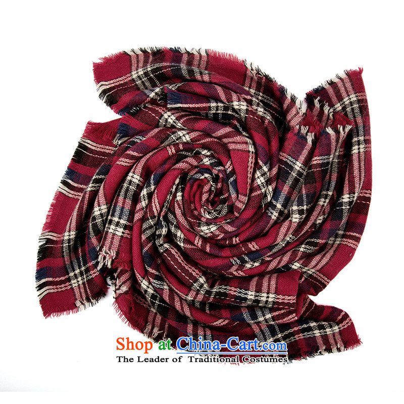 Athena Chu Cayman autumn and winter plaid scarf geometric patterns of arts stream su wild warm 844140004 (Red)