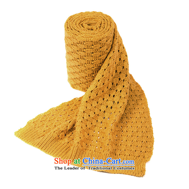 Athena Chu Cayman 2015 new autumn and winter Knitting scarves Ms. warm Knitting scarves solid color wild arts fresh elections 844140016] turmeric yellow