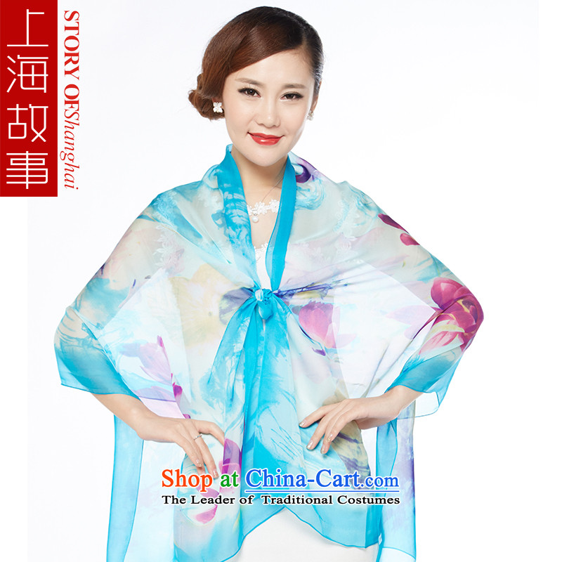 Shanghai Story new stamp, silk scarves wild herbs extract scarf sunscreen shawl ice or jade - Blue