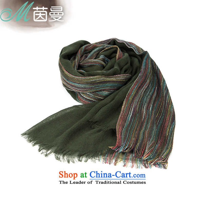 Athena Chu Cayman 2015 Ms. scarves, colored lines of rough edges arts understated wild scarf elections as soon as possible dark green 844140031