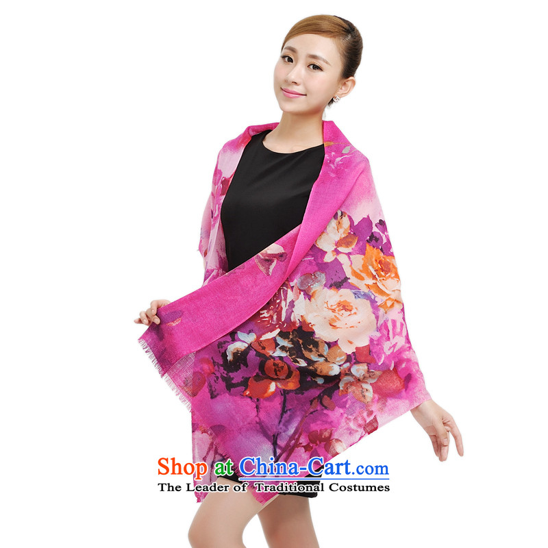 Shanghai Story Pure Wool Ms. scarves autumn and winter encryption and a new ultra grew up a floral art stamp shawl wool warm scarf girl in red 177016