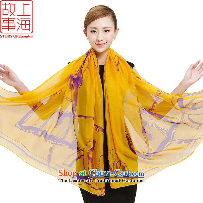 Shanghai Story stylish large wide long sunscreen silk scarf Korea chiffon sunscreen silk scarf autumn and winter pure color stamp shawl scarf female masks in 177020 yellow