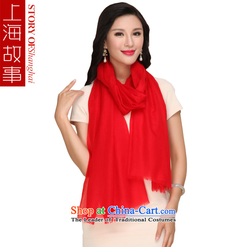 Shanghai Story pure Cashmere scarf, autumn and winter shawl a red