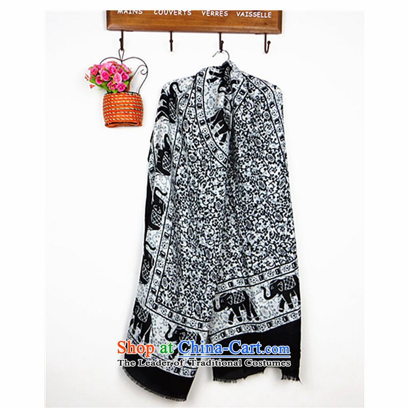 Lin, butterfly graceful elephant scarf Cotton Twill ultra-soft-su long scarf silk scarf of ethnic wild shawl scarf white elephant
