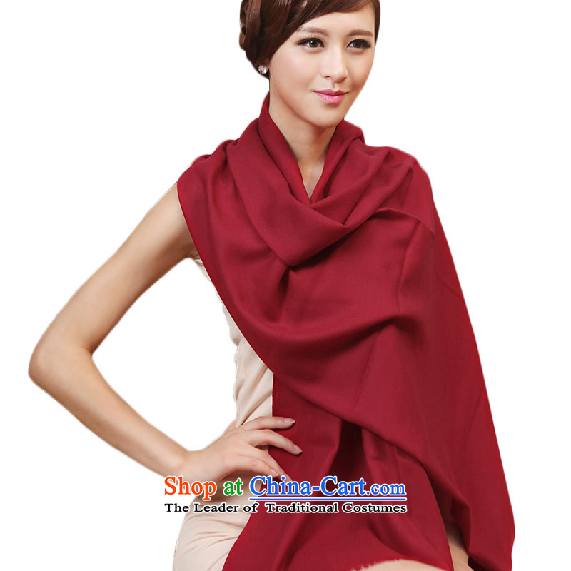 Shanghai Story pure color woolen scarves, Spring and Autumn New 80 twill scarf long dark red Fancy Scarf