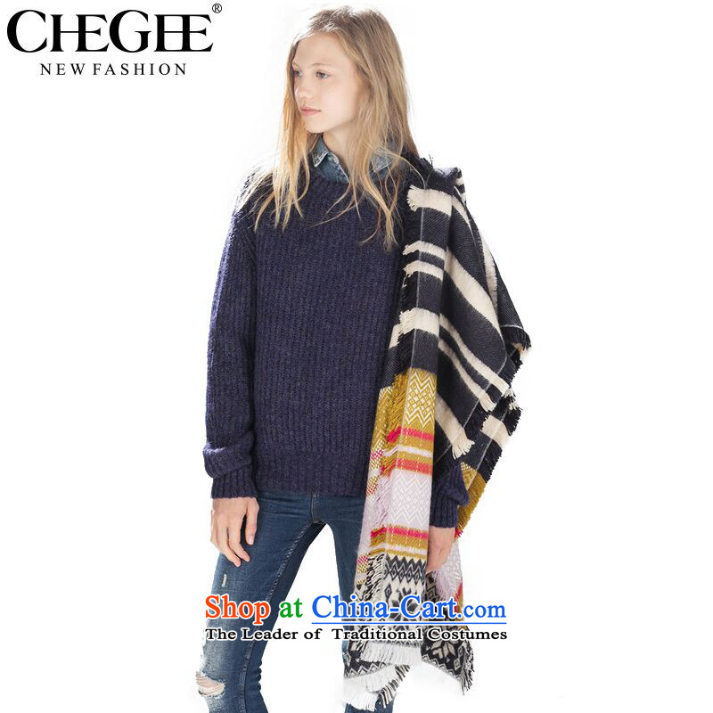 Chegeenew autumn and winter scarves and women shawl western van emulation cashmere warm yellow scarves Grid