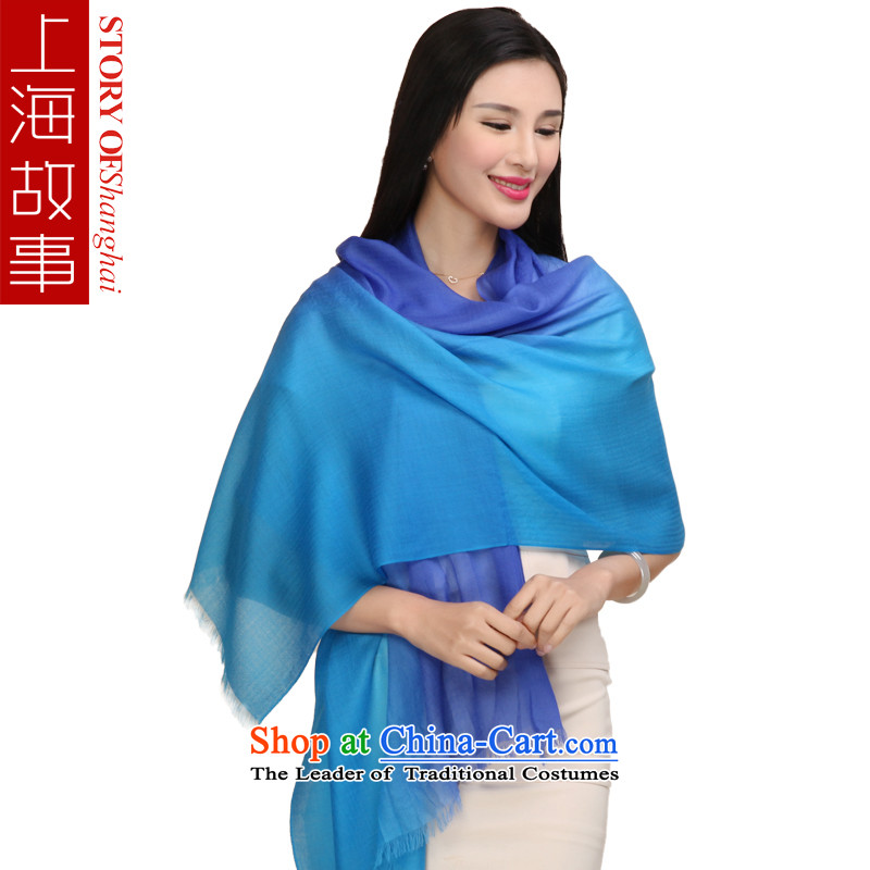 Shanghai Story pashmina female autumn and winter diamond pattern shawl Blue gradient